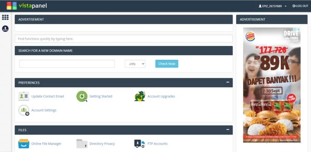 cPanel Infinity Free