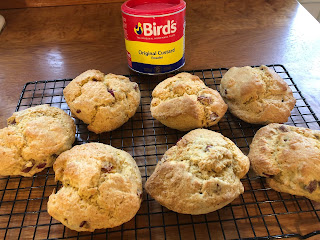 Custard and Rhubarb scones