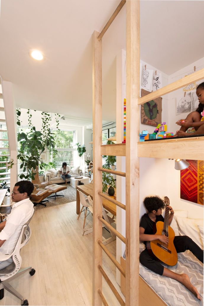 Open living in a small space-such great use of space