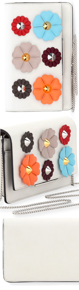 Fendi Floral-Studded Wallet-on-a-Chain, White Pattern