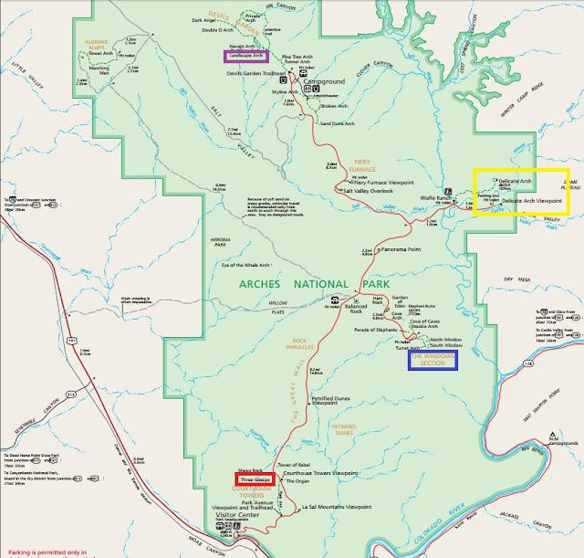 拱門國家公園, Arches National Park, map, 地圖