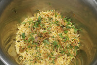 Layering rice for veg biryani recipe