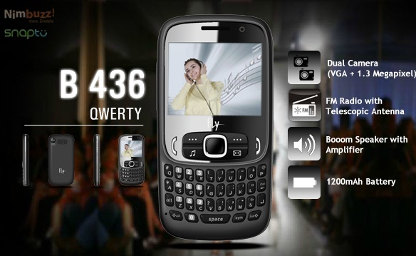 Fly B436 Price India, Fly QWERTY Dual SIM Mobile B436 Features