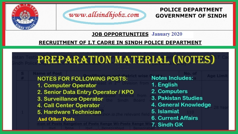 """Test Preparation Material and Notes for The Jobs Sindh Police """"IT Cadre"""" Announced in January 2020 Via Pakistan Testing Service"""