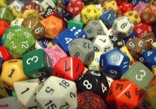 Dados utilizados em jogos de RPG de tabuleiro ou mesa