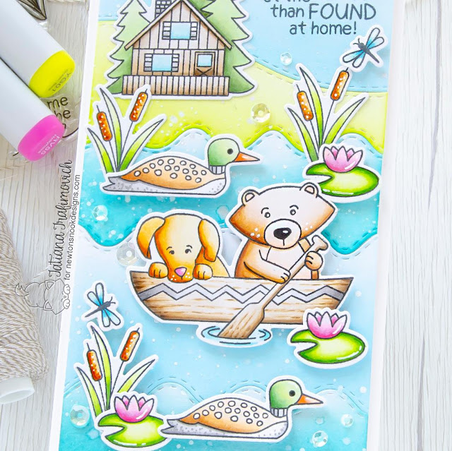 Lost at the Lake Card by Tatiana Trafimovich   Winston's Lake House Stamp Set, Sea Borders Die Set and Land Borders Die Setby Newton's Nook Designs #newtonsnook #handmade