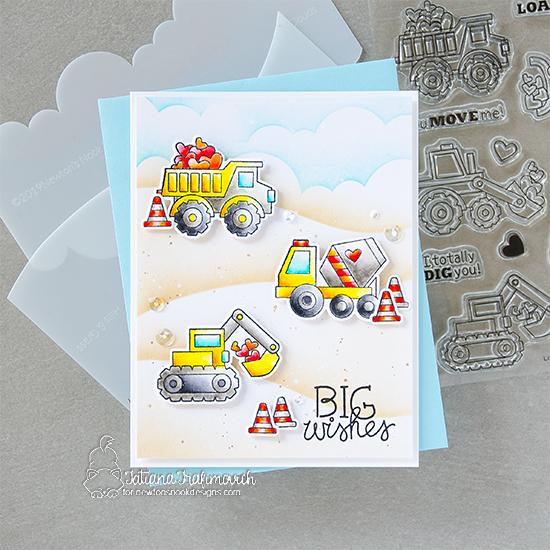 Love Quarry Card by Tatiana Trafimovich | Love Quarry Stamp Set, Clouds Stencil and Hills & Grass Stencil by Newton's Nook Designs #newtonsnook #handmade