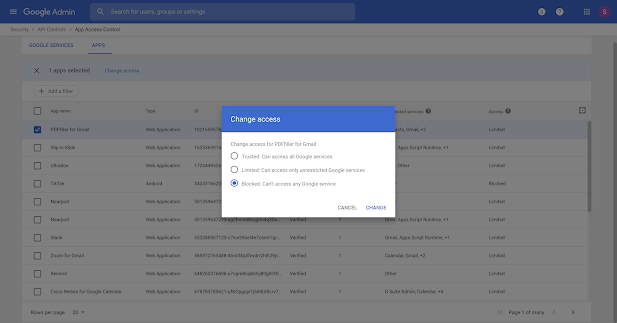 Block apps from accessing Google Workspace data with app access control 1