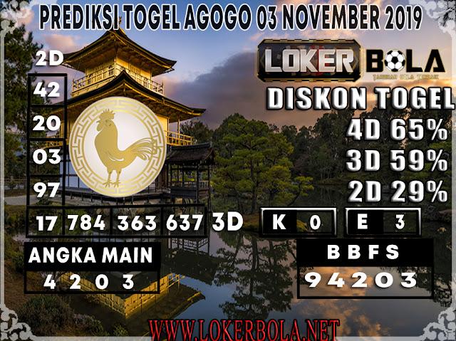 PREDIKSI TOGEL AGOGO LOKERBOLA 03 NOVEMBER 2019