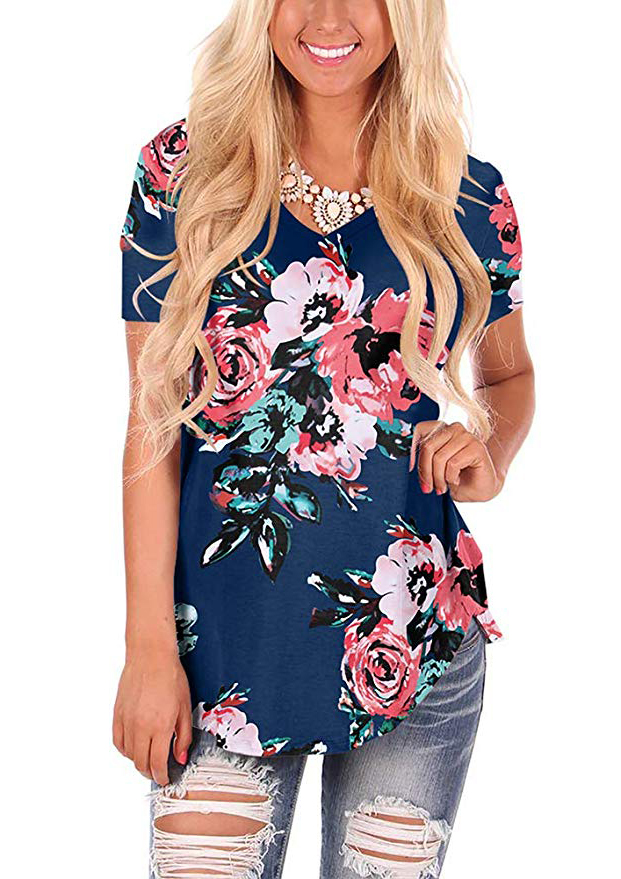 Womens Casual Curved Hem Long Sleeve T Shirt V Neck Side Slit Blouse - floral Navyblue