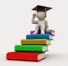 3-D stick figure of person with graduation cap, seated on top of a stack of books