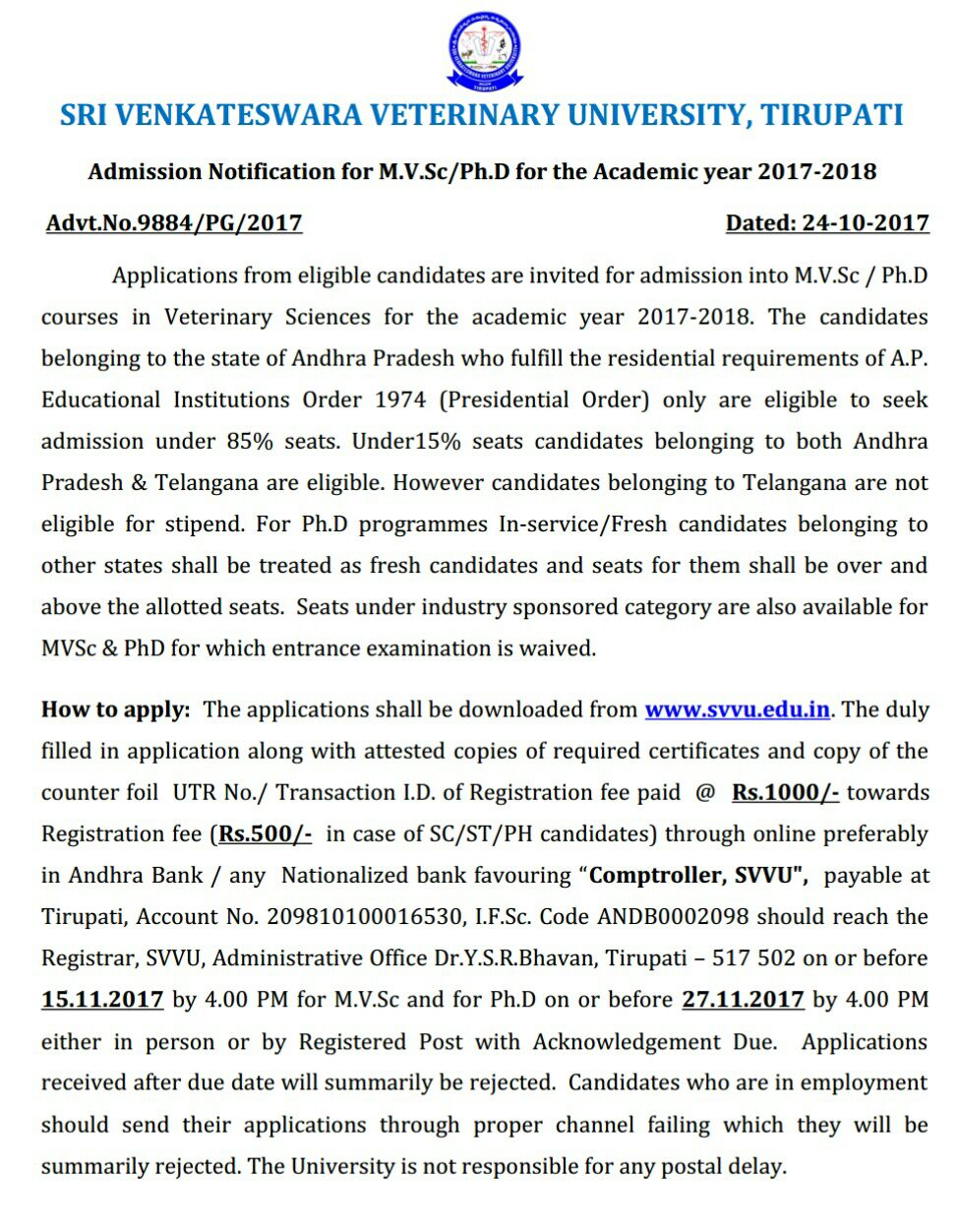 SVVU Distance M.V.Sc/Ph.D Admissions apply at svvu.edu.in