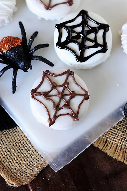 Spider Web Halloween Peanut Butter Ritz Cookie or Oreo Image