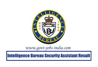 Intelligence Bureau Security Assistant Result 2018