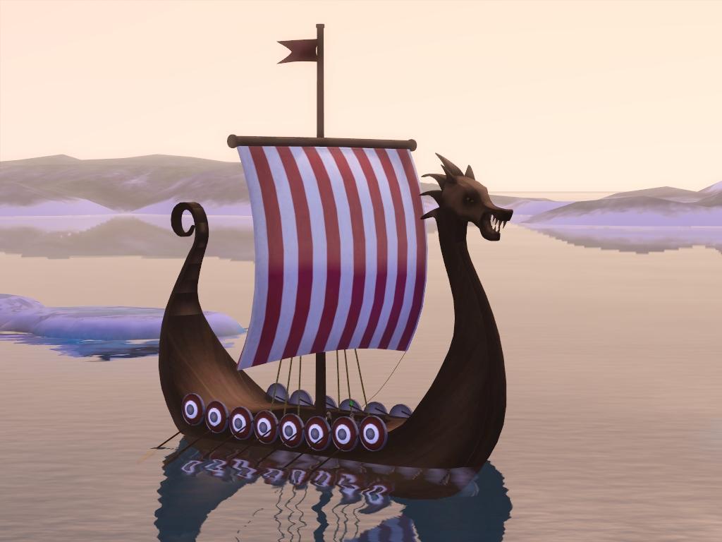 My Sims 3 Blog Viking Ship Drakkar Floating House And A Viking Drinking Horn By Sil Sharkie