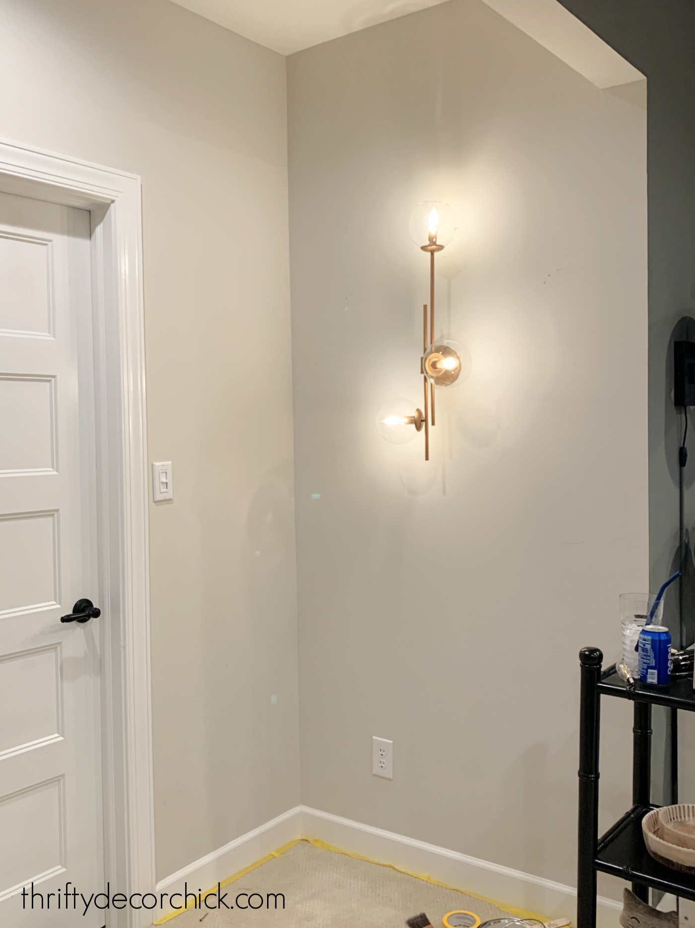 analytical gray with globe sconce
