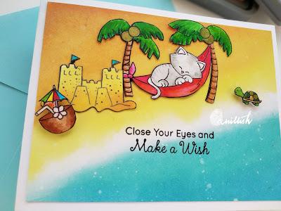 Newton's Nook designs Aloha set, newtons nook beach card, beach card, Summer theme card, Ink blending, distress oxide ink, Birthday card, Card for him, Quillish,