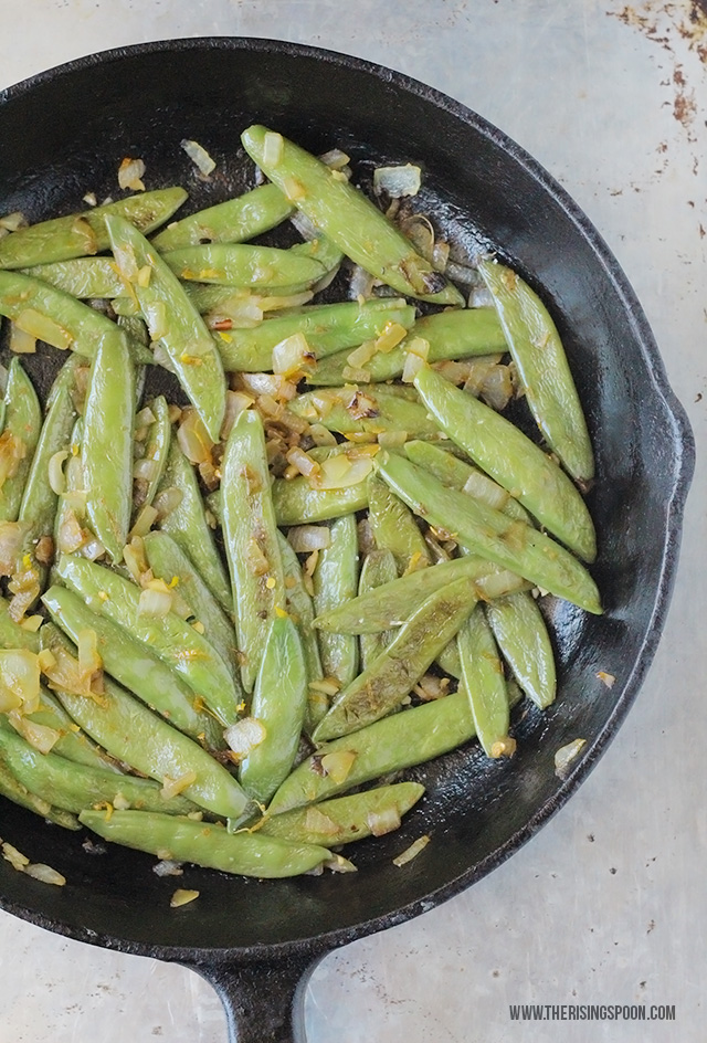 Quick Sugar Snap Peas with Onion, Garlic & Orange Zest