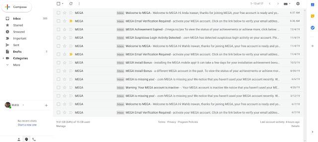 Bukti email pendaftaran masuk pada email utama