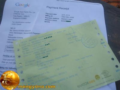 Bukti penerimaan uang Google Adsense via Western Union