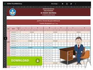 Contoh Format Jadwal Pelajaran SD Format Excel