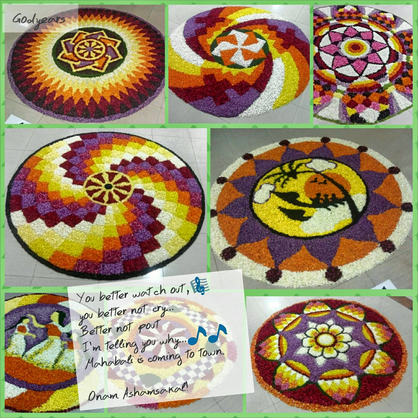 Kerala Onam flower carpets design