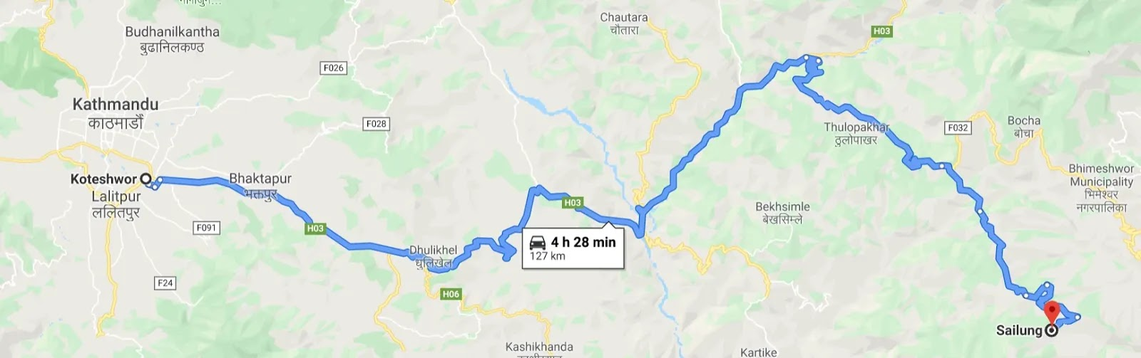route of sailung from kathmandu