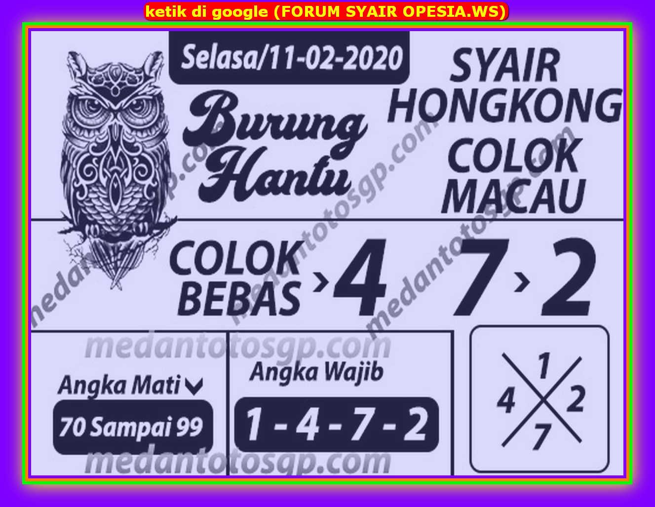 Kode syair Hongkong Selasa 11 Februari 2020 112