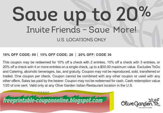 Olive garden coupon discount