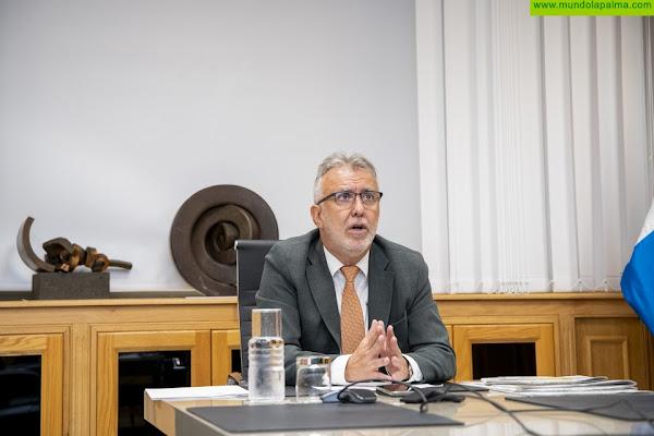 El presidente de Canarias interviene en la primera reunión de la comisión interdepartamental que abordará los daños y la creación de nuevas viviendas e infraestructuras en La Palma
