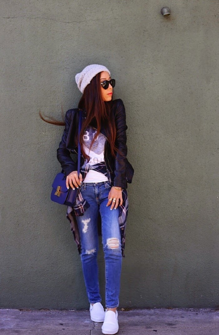AG Adriano Goldschmied Jeans The Slit 17 years Riot, karen walker harvest sunglasses, river island beanie, leather jacket, zoe Karssen tee, paige denim shirt, vans slip on, street style, sanfrancisco, casual weekend look, fall fashion, shallwesasa, celine bag