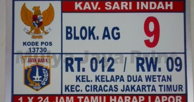 Plat Nomor Rumah Kec. Ciracas Jakarta Timur | Mulya Jaya ...