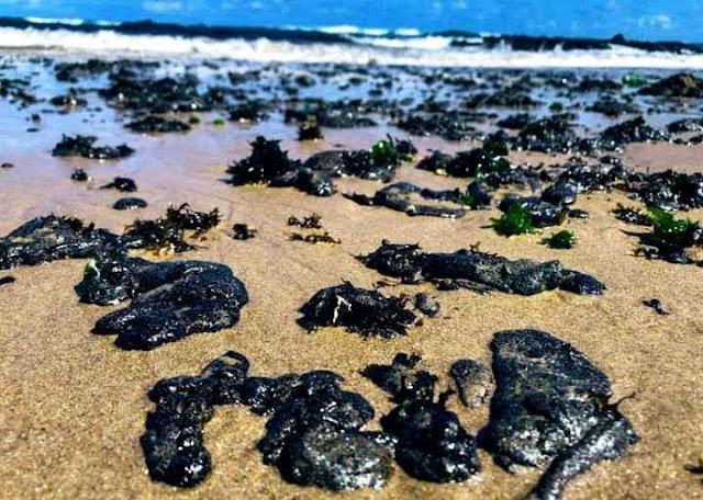 Grandes entulhos de óleo no litoral do Nordeste do Brasil.