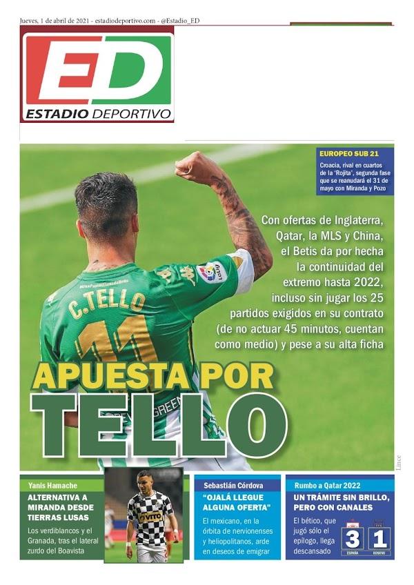 "Betis, Estadio Deportivo: ""Apuesta por Tello"""