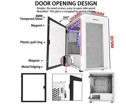 MOROVOL MESH Micro ATX Tower ARGB Fans Computer Case