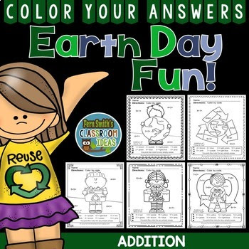 Earth Day Color By Numbers Addition