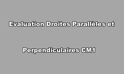Evaluation Droites Parallèles et Perpendiculaires CM1