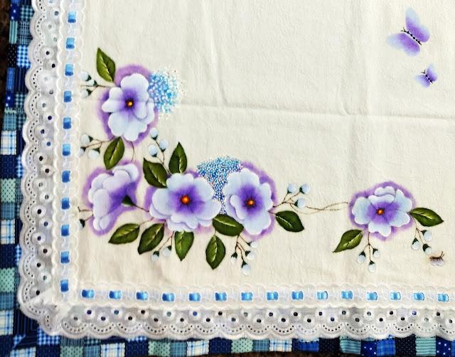 flores pintura em tecido