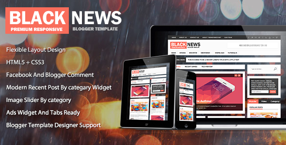 black news responsive Blogger Template 2014 for blogger or blogspot,download  black template 2014,responsive blogger template,premium blogger template 2014 2015,3 column blogger template