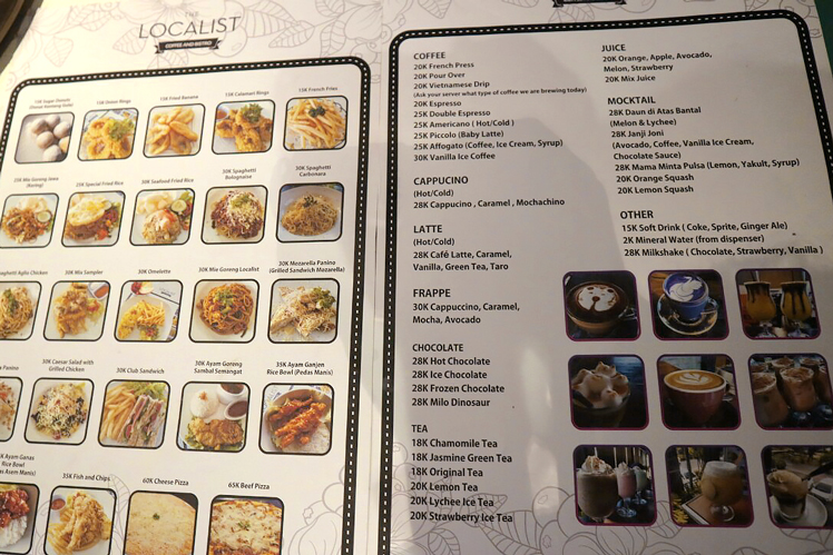 Menu The Localist Cafe Surabaya
