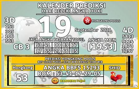 Kalender Prediksi HK Minggu 19 September 2021