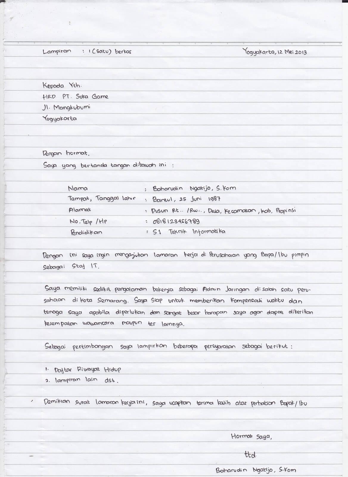 contoh surat lamaran kerja umum tulis tangan