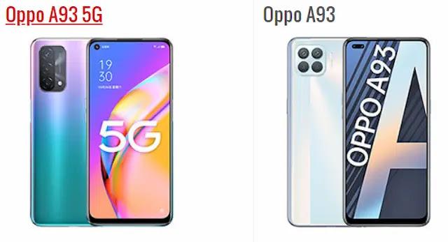 الفرق بين Oppo A93 و Oppo A93 5G