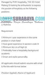 Open Recruitment at The 1O1 Hotel Malang June 2019