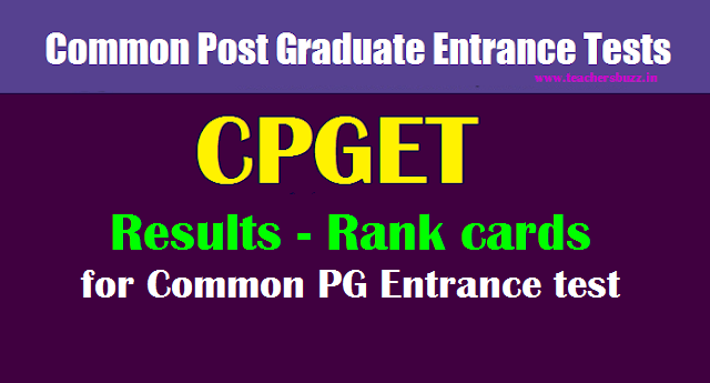 TS CPGET 2019 Results - Rank cards download  for Common PG Entrance tests 2019-20
