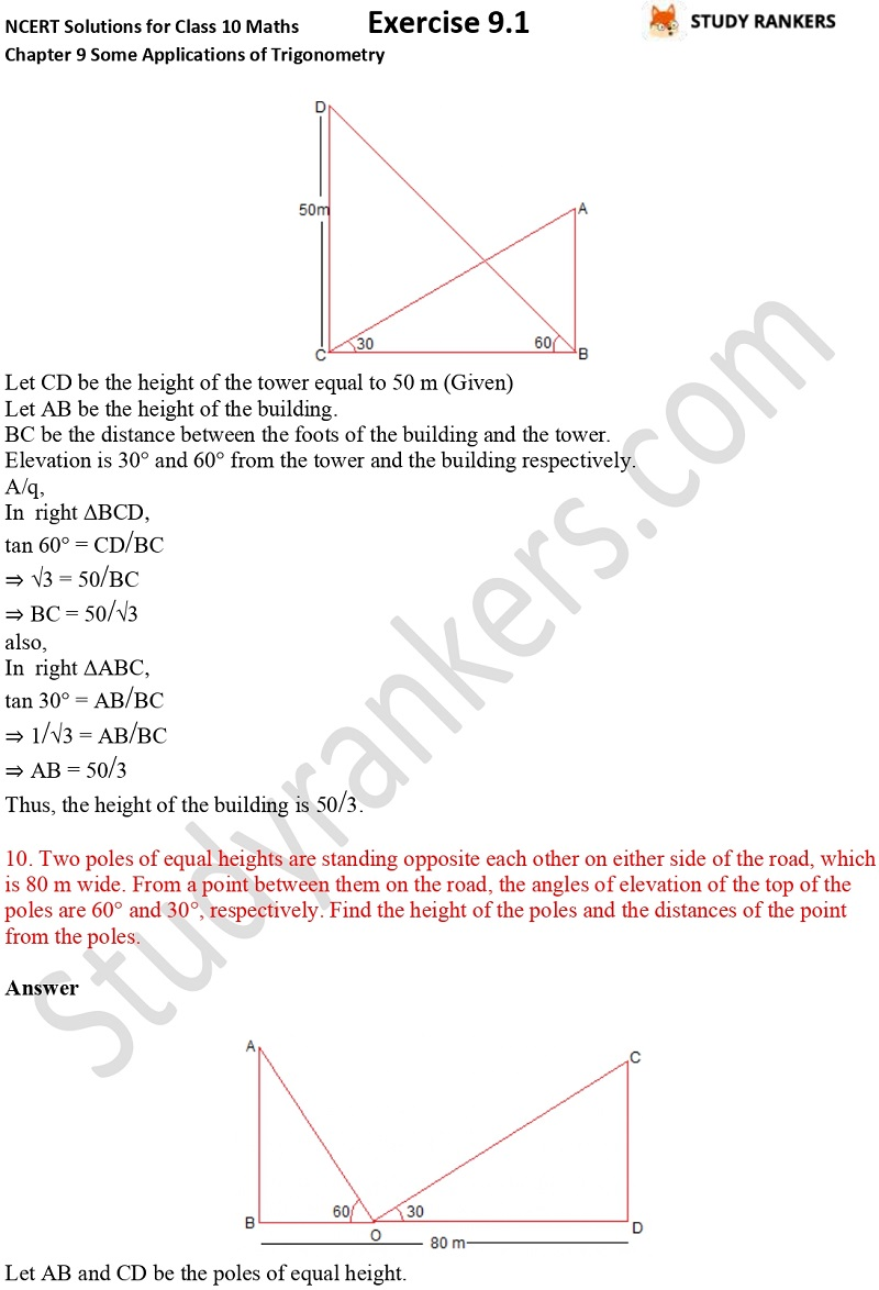 NCERT Solutions for Class 10 Maths Chapter 9 Some Applications of Trigonometry Exercise 9.1 Part 7