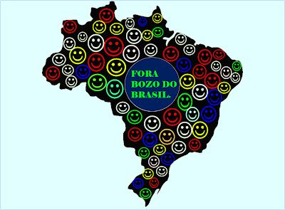 A foto mostra o mapa do Brasil e ao cento está escrito a frase: Fora Bozo do Brasil. No restante do mapa está cheio de pessoas felizes e gritando fora bozo ou bolsonaro do Brasil.