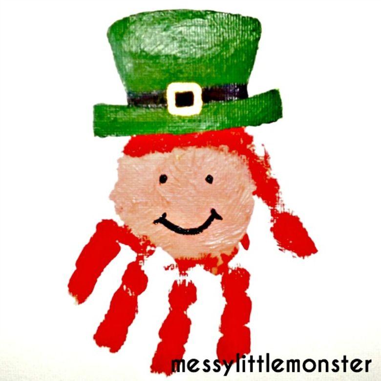 St Patricks day crafts for preschoolers - handprint leprechaun