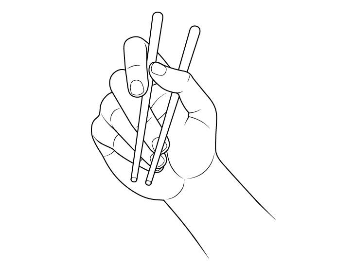Gambar pemandangan telapak tangan memegang sumpit