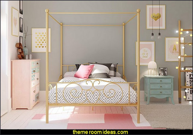 Canopy Bed with Sturdy Frame, Metal, Gold  Blush pink decorating - blush pink decor - blush and gold decor - blush pink and gold bedroom decor -  blush pink gold baby girl nursery furniture - blush art prints - rose gold bedroom decor -  blush black bedroom decor - blush mint green decor - Blush Black Gold Glitter home decor - Blush Pink furniture - marble murals